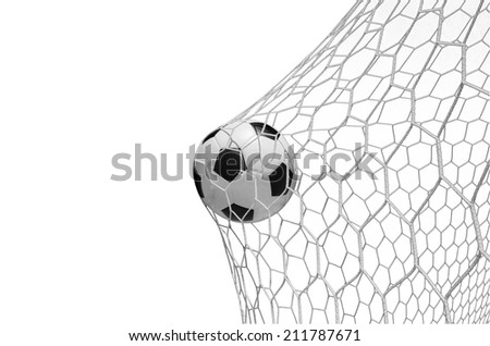 soccer ball in goal isolated on white with clipping path