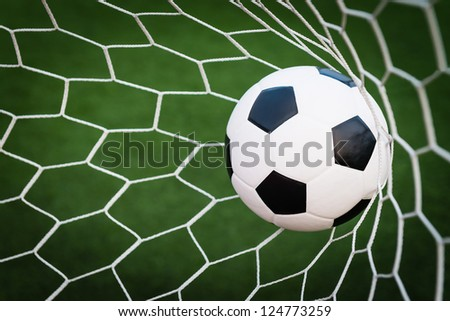 soccer ball in goal net with green grass