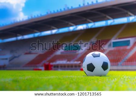 soccer ball in soccer field athletics stadium. #1201713565