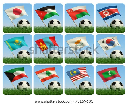 Soccer ball in the grass and the flag against the blue sky. Asian flags. 3d