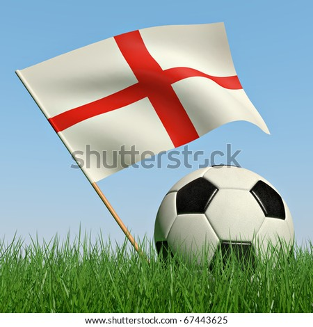 Soccer ball in the grass and the flag of England against the blue sky. 3d
