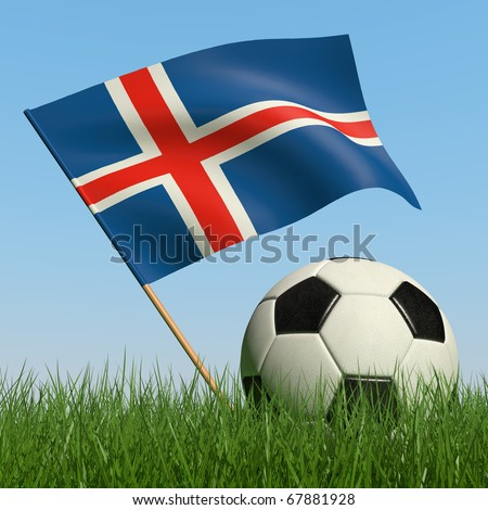 Soccer ball in the grass and the flag of Iceland against the blue sky. 3d #67881928