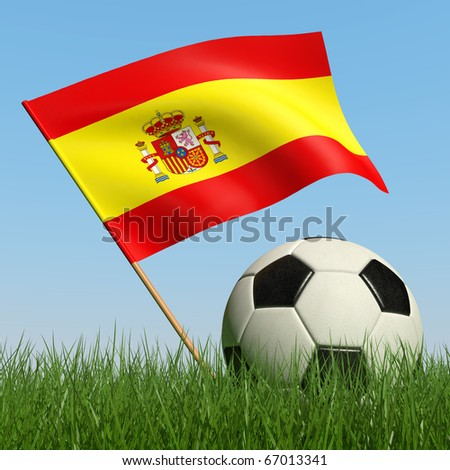 Soccer ball in the grass and the flag of Spain against the blue sky. 3d