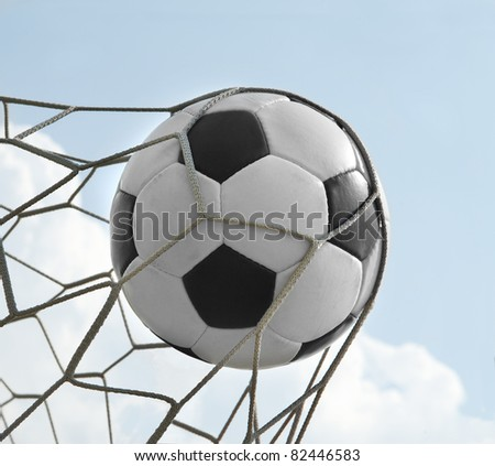 soccer ball in the net. goal