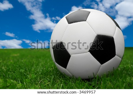 soccer ball isolated on a field of grass with a sky background