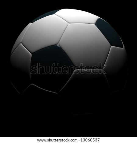 Soccer ball isolated on black background. 3D rendering.