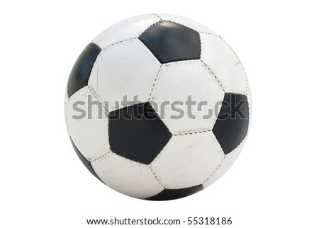 Soccer-ball isolated on white background. Low contrast, a wide range of tones. Visible on the worn leather texture coating