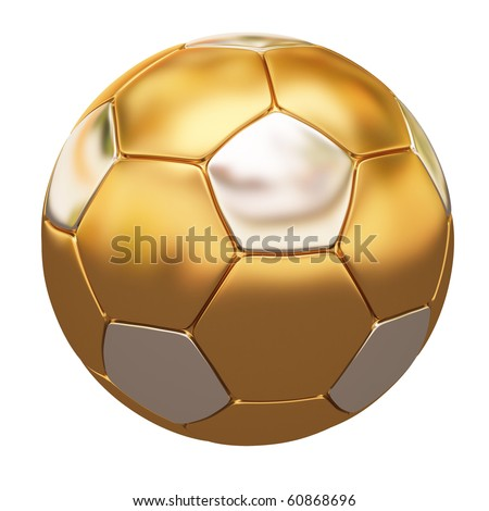 soccer ball made of gold and silver. isolated on white.
