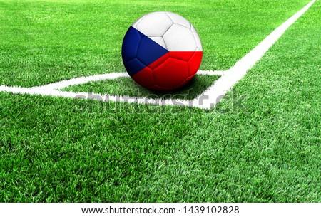 soccer ball on a green field, flag of Czech Republic #1439102828