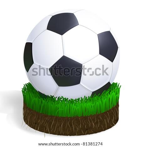 soccer ball on a piece of football court with green grass, roots and earth
