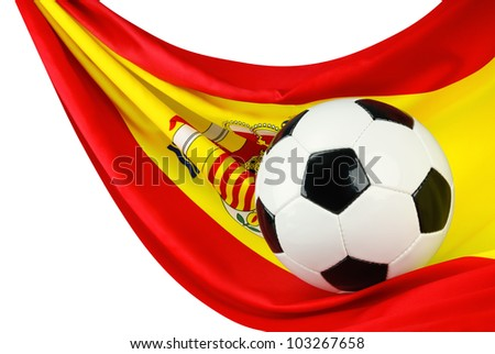 Soccer ball on a Spanish flag hanging in a spiffy way as a symbol for Spain's love of football