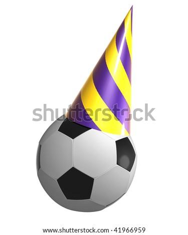 Soccer ball on birthday cone hat