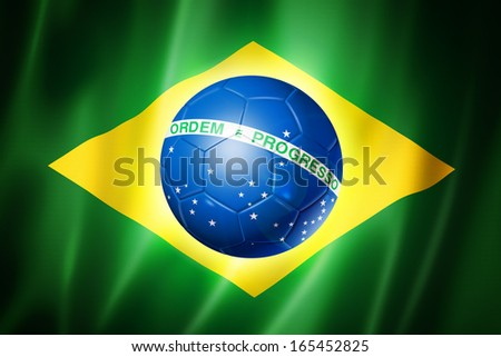 soccer ball on brazil flag