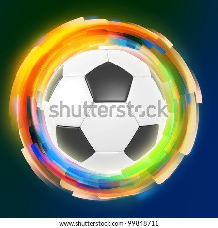 Soccer ball on color rings background