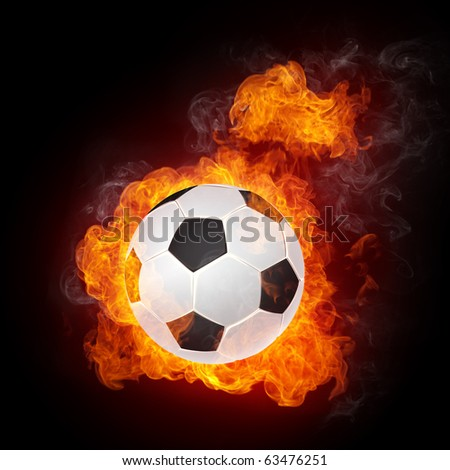 Soccer Ball on Fire isolater on Black. 2D Graphics. Computer Design.