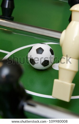 Soccer ball on foosball table