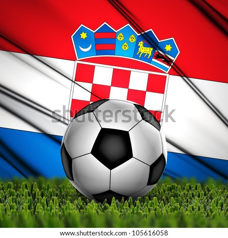 Soccer ball on grass against National Flag. Country Croatia