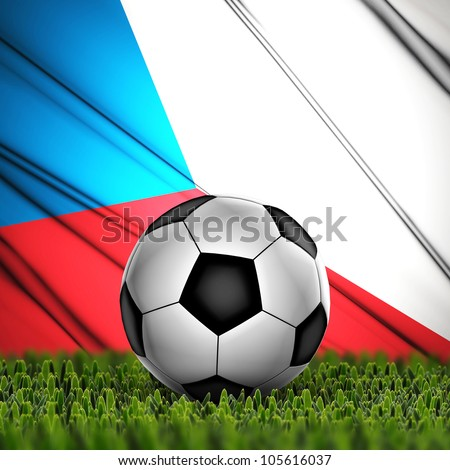 Soccer ball on grass against National Flag. Country Czech Republic