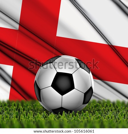 Soccer ball on grass against National Flag. Country England