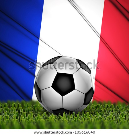 Soccer ball on grass against National Flag. Country France