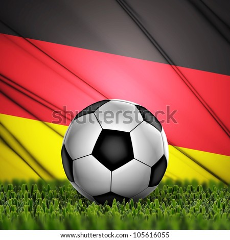 Soccer ball on grass against National Flag. Country Germany