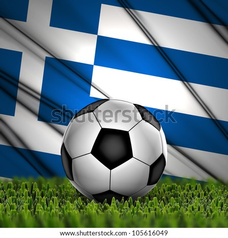 Soccer ball on grass against National Flag. Country Greece