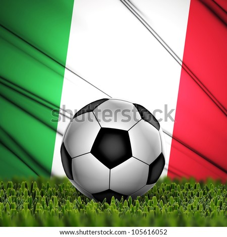 Soccer ball on grass against National Flag. Country Italy