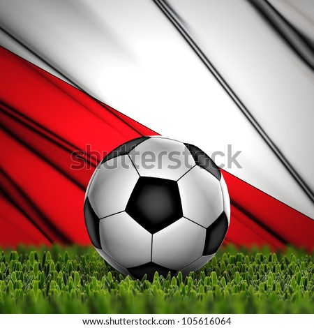 Soccer ball on grass against National Flag. Country Poland
