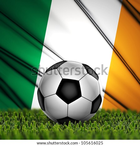 Soccer ball on grass against National Flag. Country Republic of Ireland - stock photo
