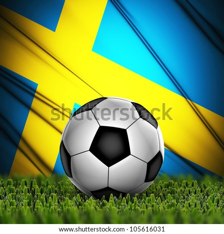 Soccer ball on grass against National Flag. Country Sweden