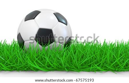 Soccer ball on grass. 3D image