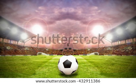 Soccer Ball On Green Field of football stadium and stadium arena soccer field championship win for background