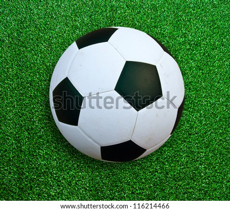 Soccer ball on green grass.