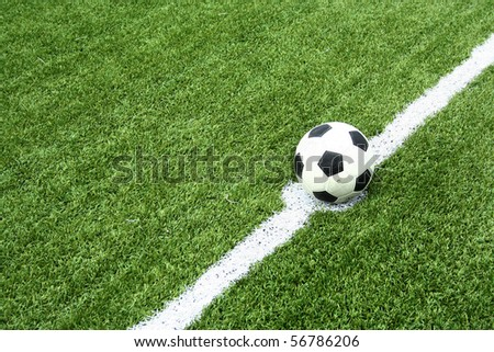 soccer ball on kick point - stock photo