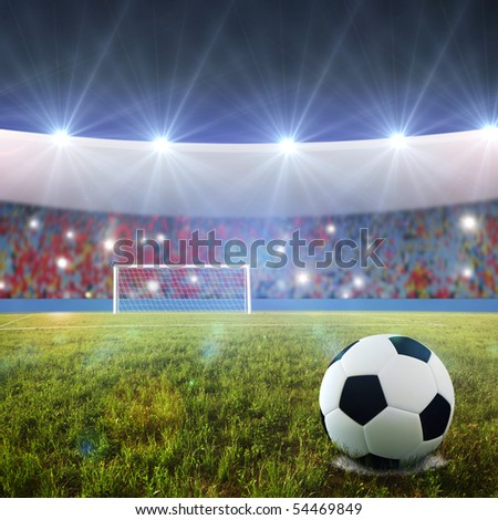 Soccer ball on penalty disk in the stadium