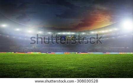 Soccer ball on the field of stadium with light  #308030528