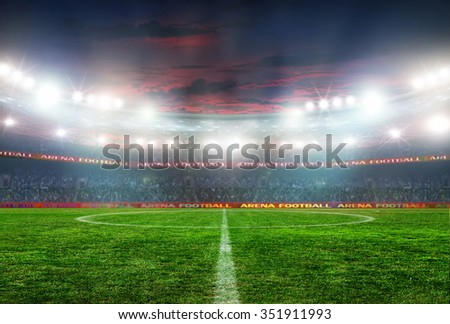 Soccer ball on the field of stadium with light  #351911993