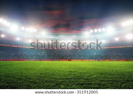 Soccer ball on the field of stadium with light  #351912005