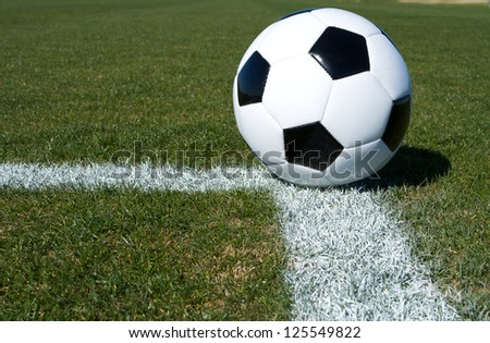 Soccer Ball on the Field with room for copy