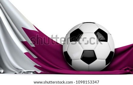 Soccer ball on the flag of Qatar. Football background. 3D Rendering