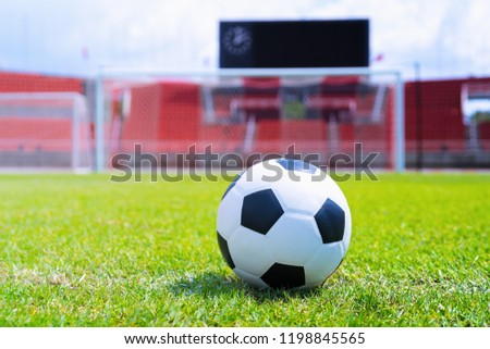 soccer ball on the green field front of the goal stadium background. #1198845565
