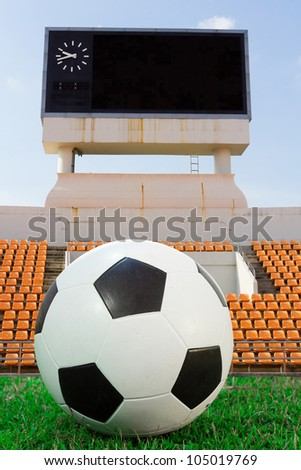 Soccer ball on the green, with score board background