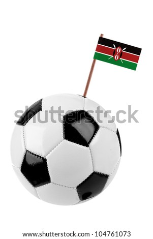Soccer ball or football decorated with a small national flag of Kenya on a tooth stick