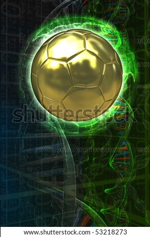 Soccer ball over a sci-fi background with dna chains