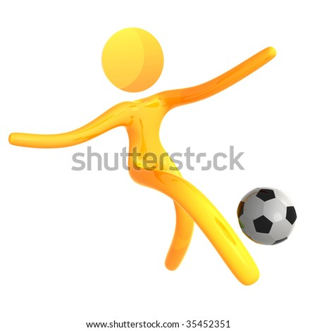 Soccer ball player 3d humanoid pictogram icon