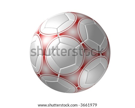 Soccer ball, red painting