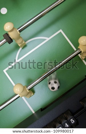 Soccer ball scoring on foosball table