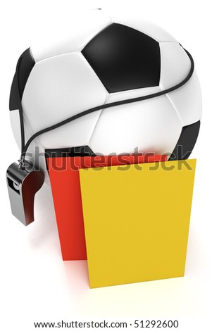 Soccer ball, whistle and red and yellow cards - stock photo