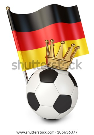 Soccer ball with a golden crown. Flag of Germany. The winner of the international soccer tournament. White background. 3d render