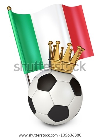 Soccer ball with a golden crown. Flag of Italy. The winner of the international soccer tournament. White background. 3d render